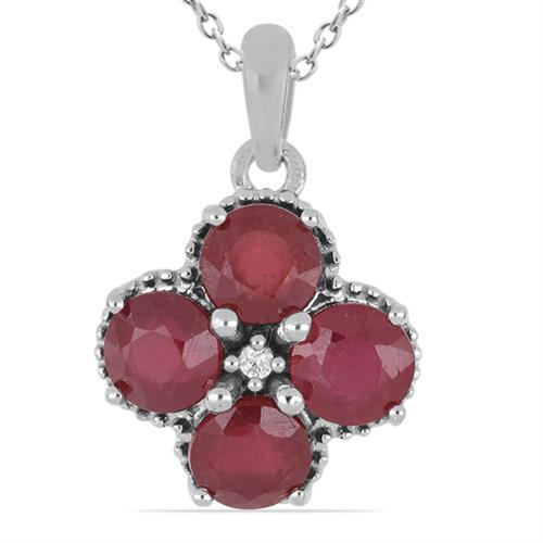 4.40 CT GLASS FILLED RUBY SILVER PENDANTS #VP014775